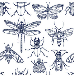 Insect bee bug moth set vector