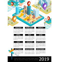 isometric gps 2019 year calendar poster vector image
