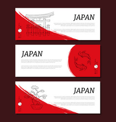 japan horizontal banners templates set card with vector image