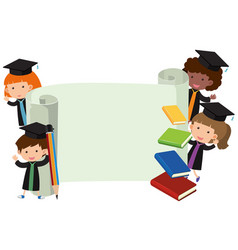 Kids in graduation gown and roll of paper vector