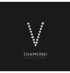 Letter V with gemstones vector image