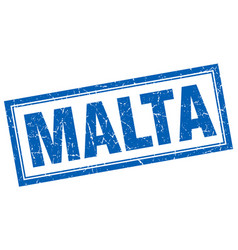 Malta blue square grunge stamp on white vector