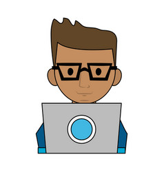 Man using computer icon image vector