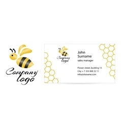 Merry bee business card vector image
