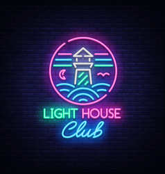 Night club lighthouse neon sign lighthouse logo vector