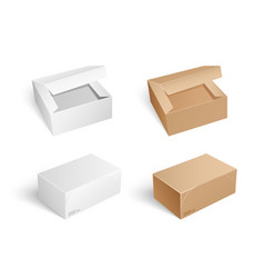 Packages and boxes with opened cap set vector