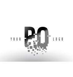 Po p o pixel letter logo with digital shattered vector