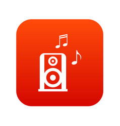 portable music speacker icon digital red vector image