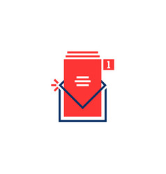 red and blue inbox notice logo vector image
