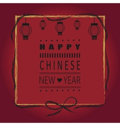 Red happy chinese new year greeting card vector