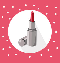 Red lipstick icon on retro background summer vector
