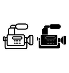 Reportage camera line and glyph icon camcorder vector