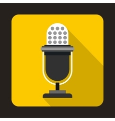 Retro microphone icon in flat style vector image