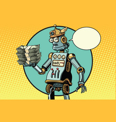 Retro robot with a bundle of money vector