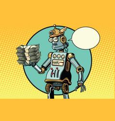 Retro robot with a bundle of money vector