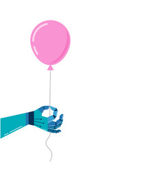 robotic hand background with a pink balloon vector image