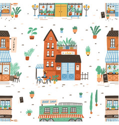 Seamless pattern with city buildings on white vector