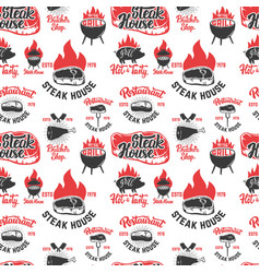 Seamless pattern with steak house symbols grill vector