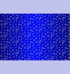 seamless pattern with stylized stars and moon vector image