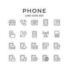 Set line icons of phone vector
