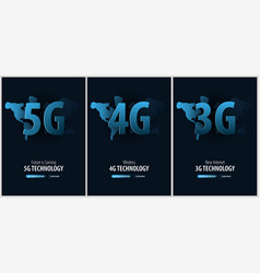 Set of 5g 4g and 3g new wireless internet banner vector