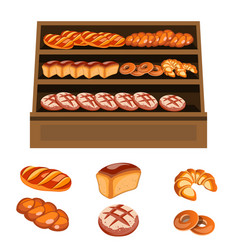 set of bakery products on wooden shelves vector image