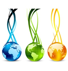 Set of banners with globe vector image