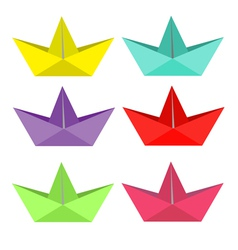 Set of bright paper ships Isolated vector image