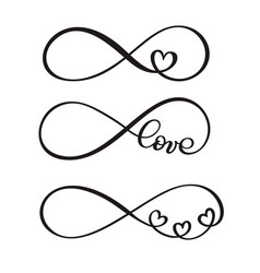 Set of word love original custom hand lettering vector