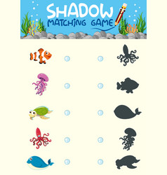 shadow matching game worksheet vector image