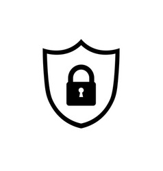 shield icon lock icon shield with lock symbol vector image