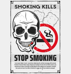 Skull with cigarette stop smoking concept vector