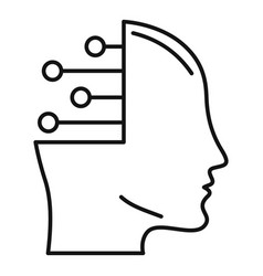 smart ai head icon outline style vector image