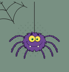 Smiling purple halloween spider on a web vector