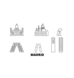 spain madrid city line travel skyline set spain vector image
