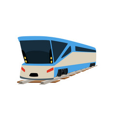 Speed modern train locomotive passenger waggon vector