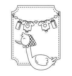 Square frame with stork in black and white vector