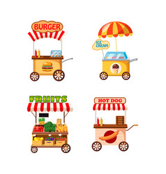 street cart shop icon set cartoon style vector image