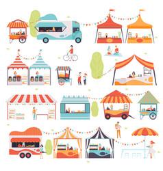 Street food set sellers selling food at kiosk vector