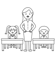 Students couple sitting in schooldesk with female vector