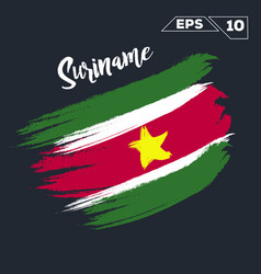 Suriname flag brush strokes painted vector