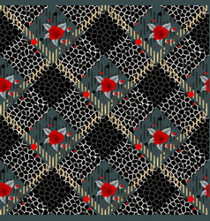 tartan plaid with flowers and leopard skin pattern vector image