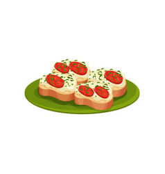 tasty toasts with cheese cream and red tomatoes vector image