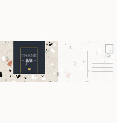 Thank you postcard abstract background with hand vector