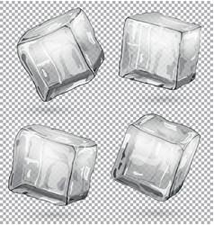 transparent ice cubes set 4 pieces vector image