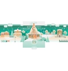 Vintage Christmas Banner with Eve Cityscape vector image