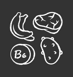 Vitamin b6 chalk icon meat banana and potato vector