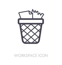 wastebasket outline icon workspace sign vector image