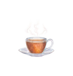 Watercolor glass cup of tea vector
