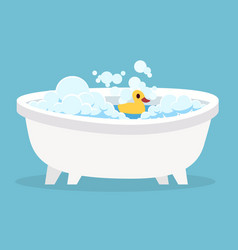 white bathtub cartoon clean cute hot bath with vector image
